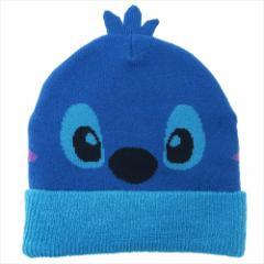 スティッチ 子供用毛糸帽子 キッズニットキャップ フェイス ディズニー 50〜52cm キャラクター グッズ メール便可