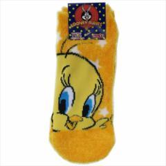 トゥイーティー 女性用防寒靴下 レディースもこもこショートソックス スター Looney Tunes 23〜25c