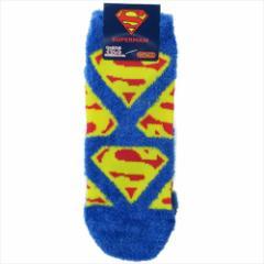 スーパーマン 女性用防寒靴下 レディースもこもこショートソックス Sシールド ちらし DCコミック 23〜25cm