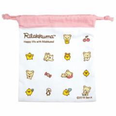 リラックマ 巾着袋 フラット 巾着ポーチ アイコン ピンク サンエックス 新入園 新入学準備 キャラクター グッズ メール便可