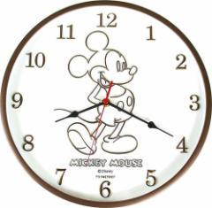 ミッキーマウス 壁掛け時計 インデックス ウォールクロック ブラウン ディズニー 新生活準備 キャラクター グッズ