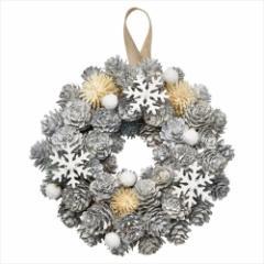 クリスマスリース スノーリースS オフホワイト Xmas 直径18cm インテリア雑貨 グッズ