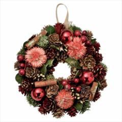 クリスマスリース シナモンリースS レッド Xmas 直径18cm インテリア雑貨 グッズ