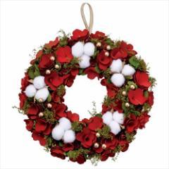 クリスマスリース アカネコットンリースL レッド Xmas 直径33cm インテリア雑貨 グッズ