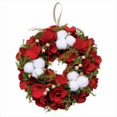 クリスマスリース アカネコットンリースM レッド Xmas 直径24cm インテリア雑貨 グッズ