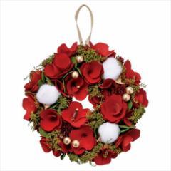 クリスマスリース アカネコットンリースS レッド Xmas 直径18cm インテリア雑貨 グッズ