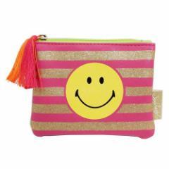 スマイリーフェイス コインケース グリッター ミニポーチ ピンク Smiley Face 12×9cm キャラクター グッズ メール便可