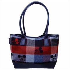 ミッキーマウス 手提げかばん トートバッグ トラッドチェック ディズニー 約26×41×12cm キャラクター グッズ 送料無料