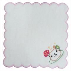 カピバラさん ミニタオル ふわふわ無撚糸 刺繍タオル キノコ ピンク 約20×20cm キャラクター グッズ メール便可