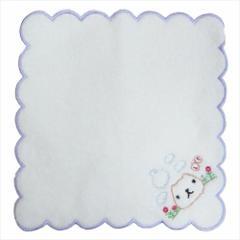 カピバラさん ミニタオル ふわふわ無撚糸 刺繍タオル じゅるり パープル 約20×20cm キャラクター グッズ メール便可