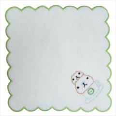 カピバラさん ミニタオル ふわふわ無撚糸 刺繍タオル カフェ グリーン 約20×20cm キャラクター グッズ メール便可