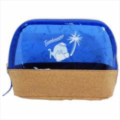 タキシードサム 透明コスメポーチ PVCクリアカラードーム型ポーチ ブルー サンリオ 19×14×7cm キャラクター グッズ