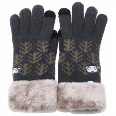 クレヨンしんちゃん 手袋 ワンポイント刺繍 スマホ対応手袋 シロ 防寒対策 アニメキャラクター グッズ