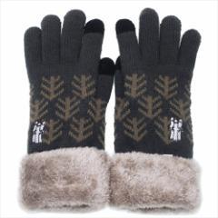 ムーミン 手袋 ワンポイント刺繍 スマホ対応手袋 ニョロニョロ BK 北欧 防寒対策 キャラクター グッズ