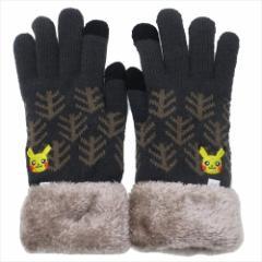 ポケットモンスター 手袋 ワンポイント刺繍 スマホ対応手袋 ピカチュウ フェイス 防寒対策 キャラクター グッズ