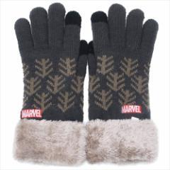 マーベル 手袋 ワンポイント刺繍 スマホ対応手袋 ロゴ BK 防寒対策 キャラクター グッズ