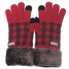 マーベル 手袋 ワンポイント刺繍 スマホ対応手袋 ロゴ RD 防寒対策 キャラクター グッズ