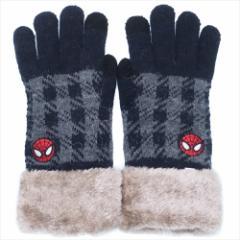 スパイダーマン 手袋 ワンポイント刺繍 スマホ対応手袋 フェイス マーベル 防寒対策 キャラクター グッズ