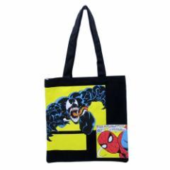スパイダーマン トートバッグ キャンバス カラートート コミック ブラック マーベル 手提げかばん キャラクター グッズ