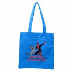 スパイダーマン トートバッグ キャンバス カラートート 写真 スカイブルー マーベル 手提げかばん キャラクター グッズ