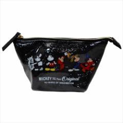 ミッキーマウス コスメポーチ グリッターポーチ 90周年記念 ブラック ディズニー 19×10×7cm キャラクター グッズ