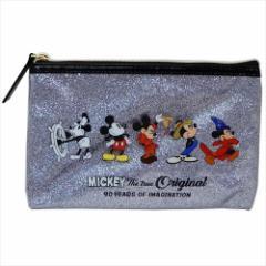 ミッキーマウス 平ポーチ グリッターフラットケースM 90周年記念 シルバー ディズニー 19×12.5×1cm キャラクター グッズ メール便可