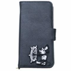 ミッキーマウス 汎用手帳型スマホケース マルチフリップカバー 合皮刺繍 ブラック ディズニー 5インチ以内 キャラクター グッズ