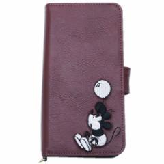 ミッキーマウス 汎用手帳型スマホケース マルチフリップカバー 合皮刺繍 レッド ディズニー 5インチ以内 キャラクター グッズ