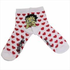 ベティブープ 女性用靴下 レディースクルーソックス HEART 23〜25cm キャラクター グッズ メール便可