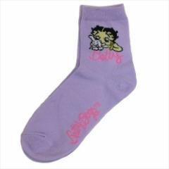 ベティブープ 女性用靴下 レディースクルーソックス PURPLE 23〜25cm キャラクター グッズ メール便可