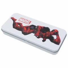 デッドプール 缶ペンケース ブリキ フリーケース ホワイト マーベル 新学期 準備 雑貨 キャラクター 筆箱