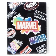 MARVEL ファイル ジップファスナー付 6ポケット A4 クリアファイル ブラック マーベル 新学期準備 雑貨 キャラクター グッズ