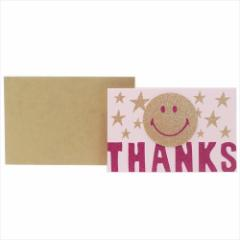 スマイリーフェイス グリーティングカード グリッターカード THANKS Smiley Face ありがとう キャラクター グッズ メール便可