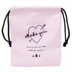 MAKE YOU 巾着袋 マチ付き巾着 2019年 新入学 新学期準備 21×18×7cm 女子向け グッズ メール便可