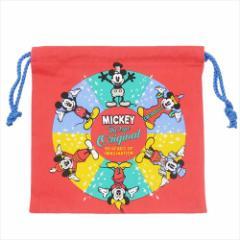 ミッキーマウス 巾着袋 きんちゃくポーチ サークル ディズニー 20×20cm キャラクター グッズ メール便可