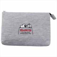 スヌーピー 平ポーチ スウェット2ルームポーチ 刺繍 寝そべり ピーナッツ 16.5×12×3cm キャラクター グッズ