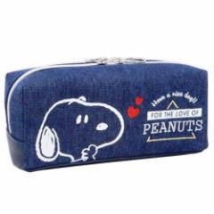 スヌーピー ペンポーチ BOX ペンケース デニム&刺繍 ピーナッツ 新学期準備 雑貨 キャラクター グッズ
