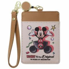 ミッキーマウス 定期入れ リール付きパスケース 生誕90周年 ディズニー ICカードケース キャラクター グッズ メール便可