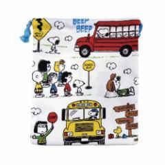 スヌーピー 巾着袋 マチ付き きんちゃくポーチ スクールバス ピーナッツ 小物入れ キャラクター グッズ メール便可