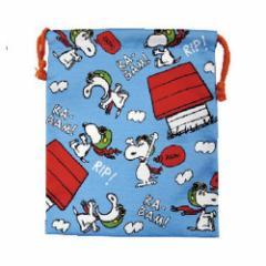 スヌーピー 巾着袋 マチ付き きんちゃくポーチ フライングエース ピーナッツ 小物入れ キャラクター グッズ メール便可