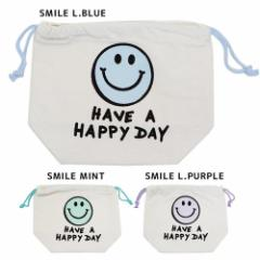 HAVE A HAPPY DAY 巾着袋 マチ付ききんちゃくポーチ SMILE 21.5×17×9cm かわいい グッズ メール便可
