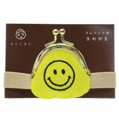 スマイリーフェイス 小銭入れ ゴムバンド付き まめがま 黄色 500円玉サイズ キャラクター グッズ メール便可