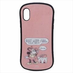 ミニーマウス iPhone Xs ケース アイフォン ハイブリッド ガラス ケース ディズニー カード ポケット付き キャラクター グッズ