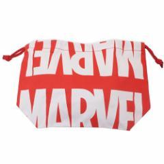 MARVEL ランチ巾着 マチ付ききんちゃく ロゴ マーベル 18×27×9cm キャラクター グッズ メール便可