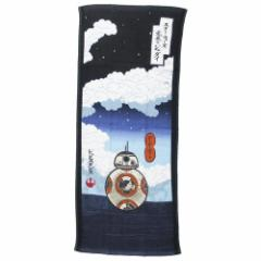 スターウォーズ フェイスタオル 片面ガーゼ ロングタオル BB-8 ネイビー STAR WARS 34×80cm キャラクター グッズ