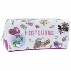 ミッキー & フレンズ ペンポーチ BOX ペンケース 缶バッジ付き ディズニー 新学期準備雑貨 キャラクター グッズ