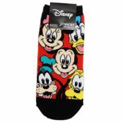 ミッキー & フレンズ 女性用 靴下 レディース ソックス フェイスいっぱい ディズニー 23〜25cm キャラクター グッズ メール便可