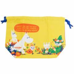 ムーミン ランチ 巾着 マチ付き きんちゃくポーチ お花畑 北欧 18×27×9cm キャラクター グッズ メール便可