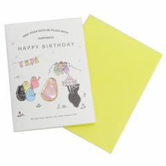 バーバパパ グリーティング カード ピンバッジ付き バースデーカード バーバパパ 誕生日祝い キャラクター グッズ メール便可