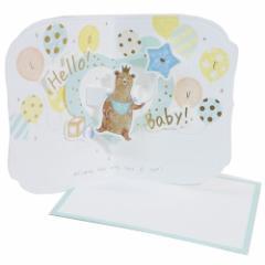 グリーティング カード メッセージカード ポップアップ ベビーカード ベアー 出産祝い お祝い グッズ メール便可